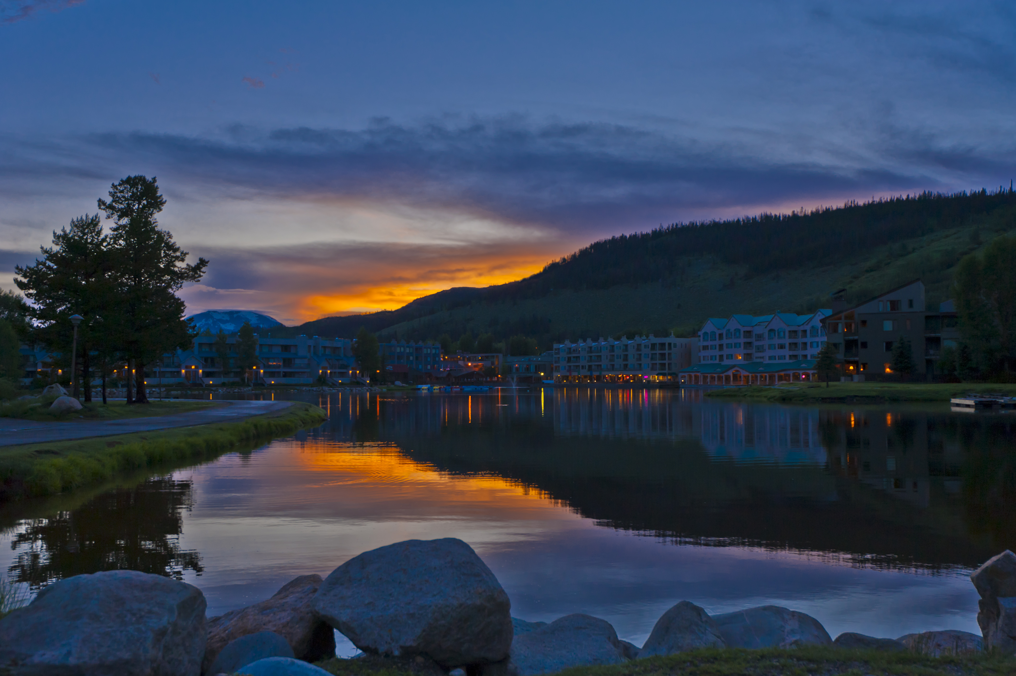 Lakeside Village in evening in summer